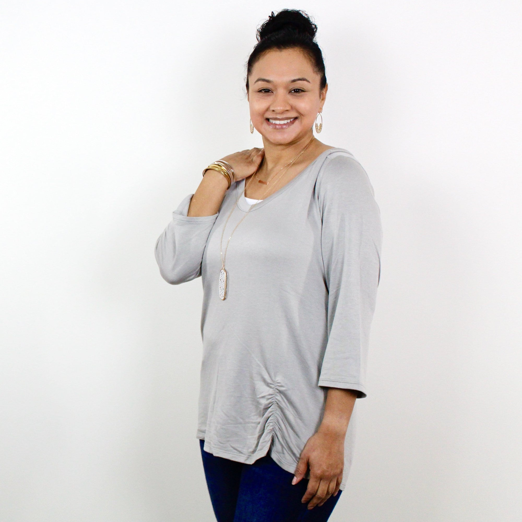 Vneck Front Rouching Detail Top