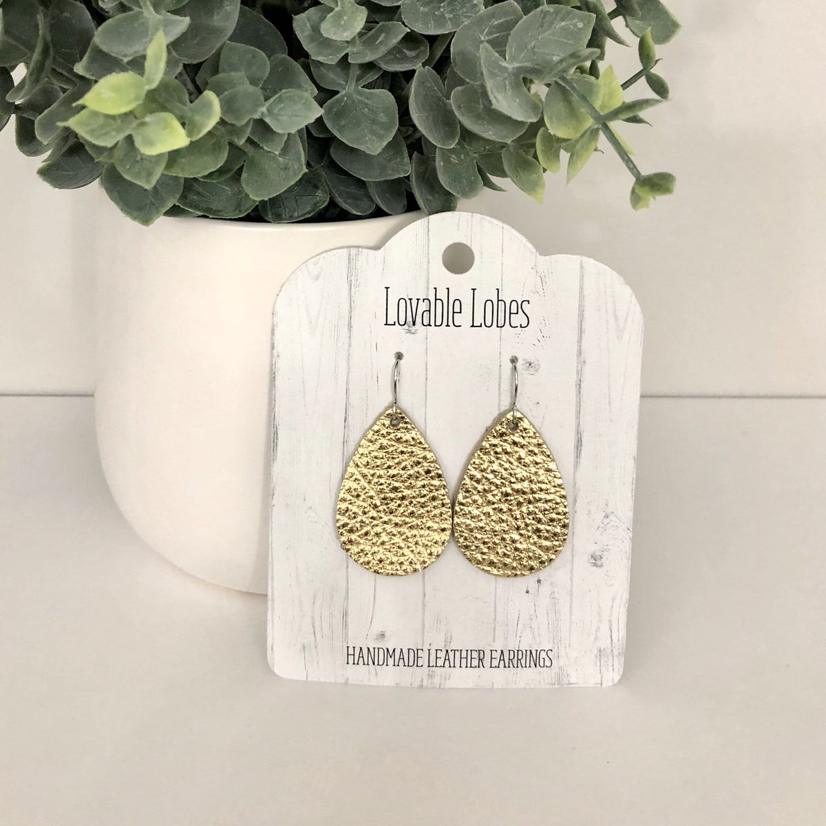Lovable Lobes Mini Teardrop Leather Earring