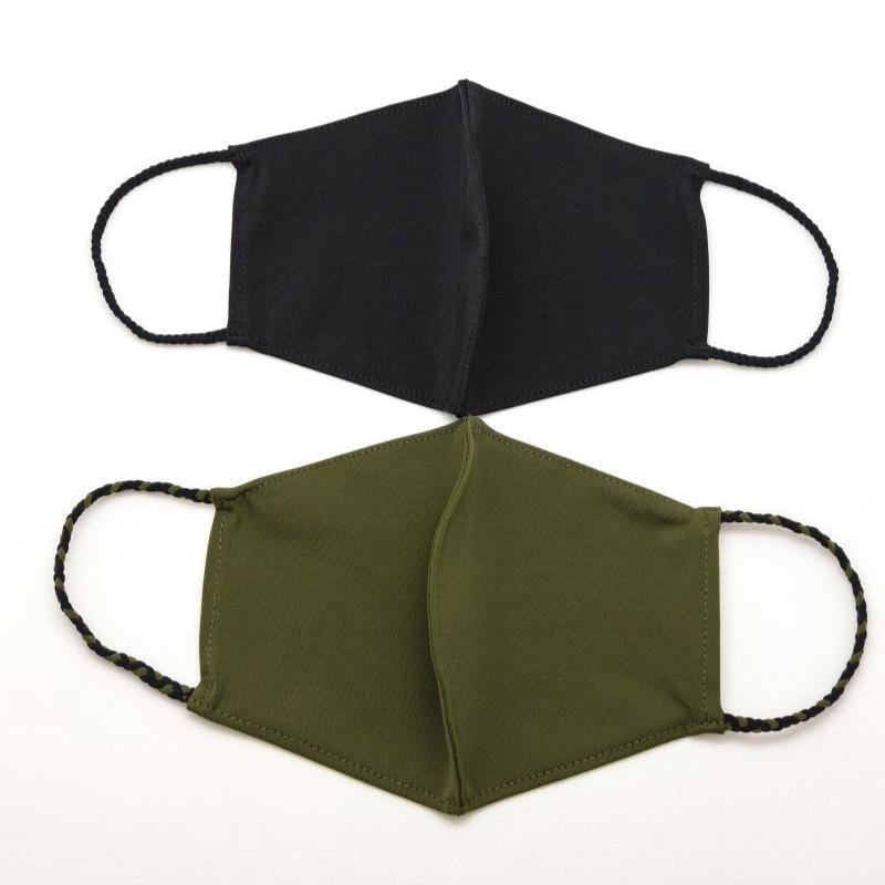 Black/Olive Pom Face Covering 2 Pack