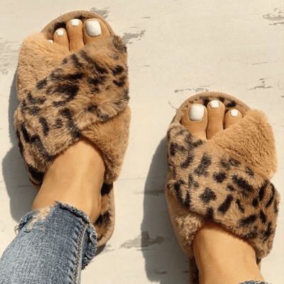 Animal Print Cross Slipper