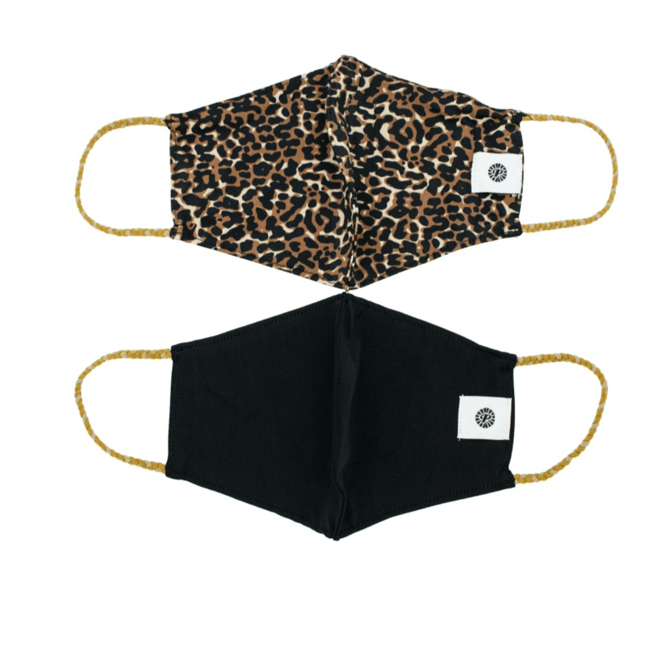 Leopard w/Black Solid Pom Face Covering 2 Pack