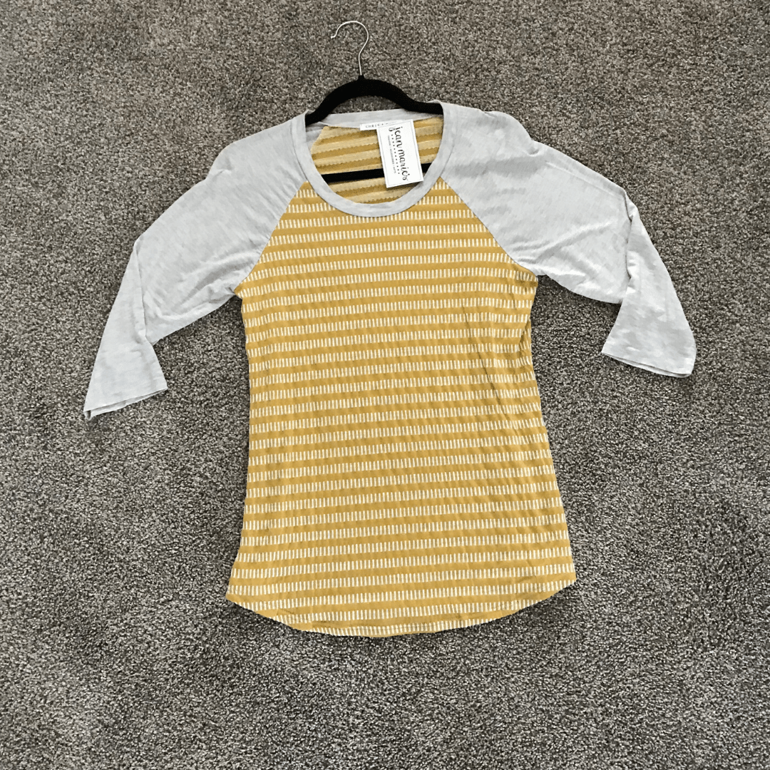 Yellow Texture Baseball Tee