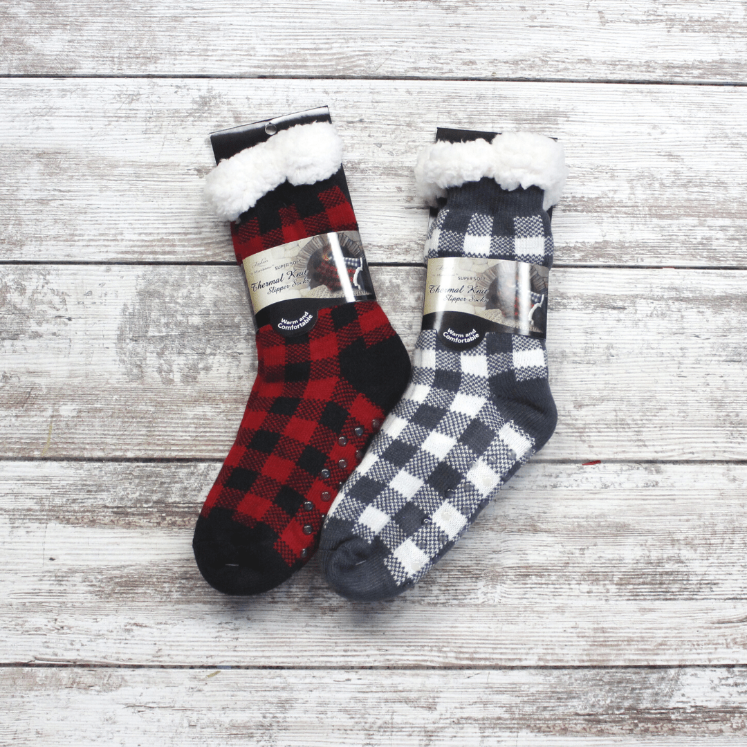 Buffalo Plaid Knit Thermal Sock