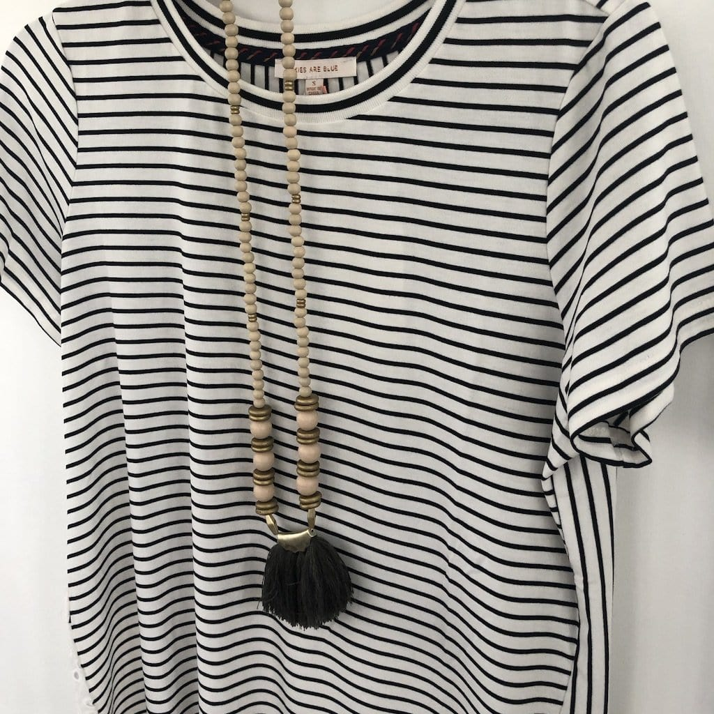 Striped Eyelet Back Jersey Tee