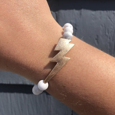 Lightning Bolt Marble Stone Stretch Bracelet