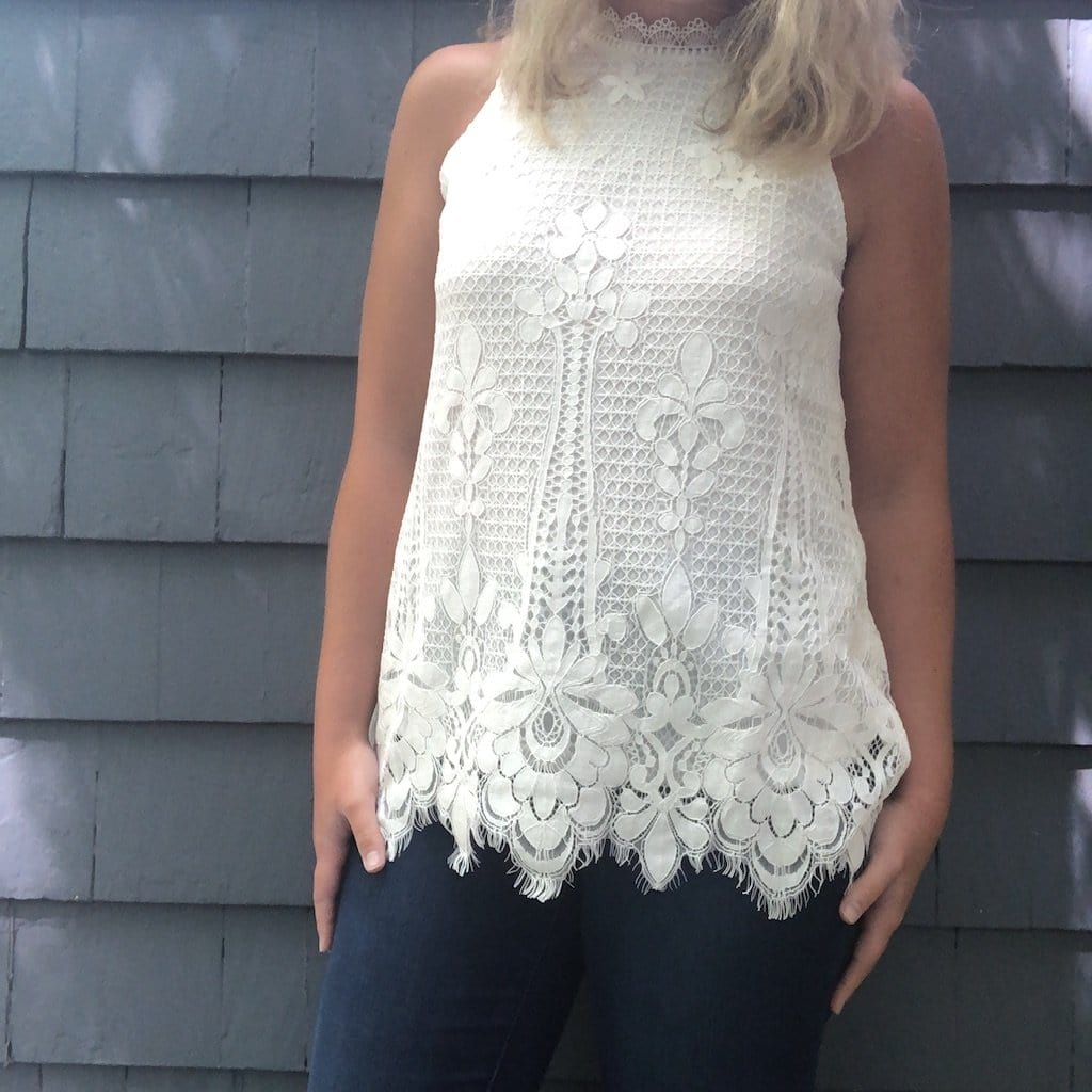 White Lace Overlay Tank