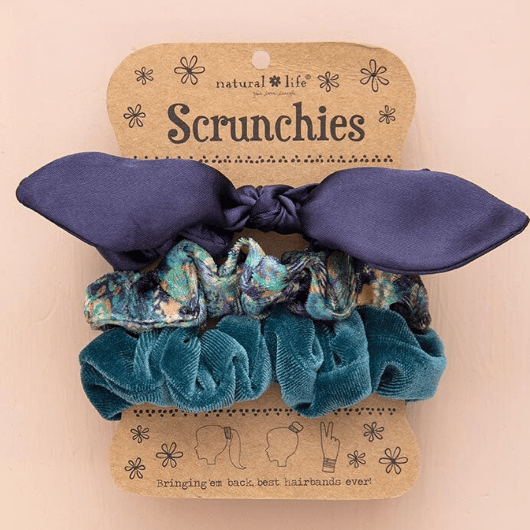 Navy Bow Scrunchies S/3