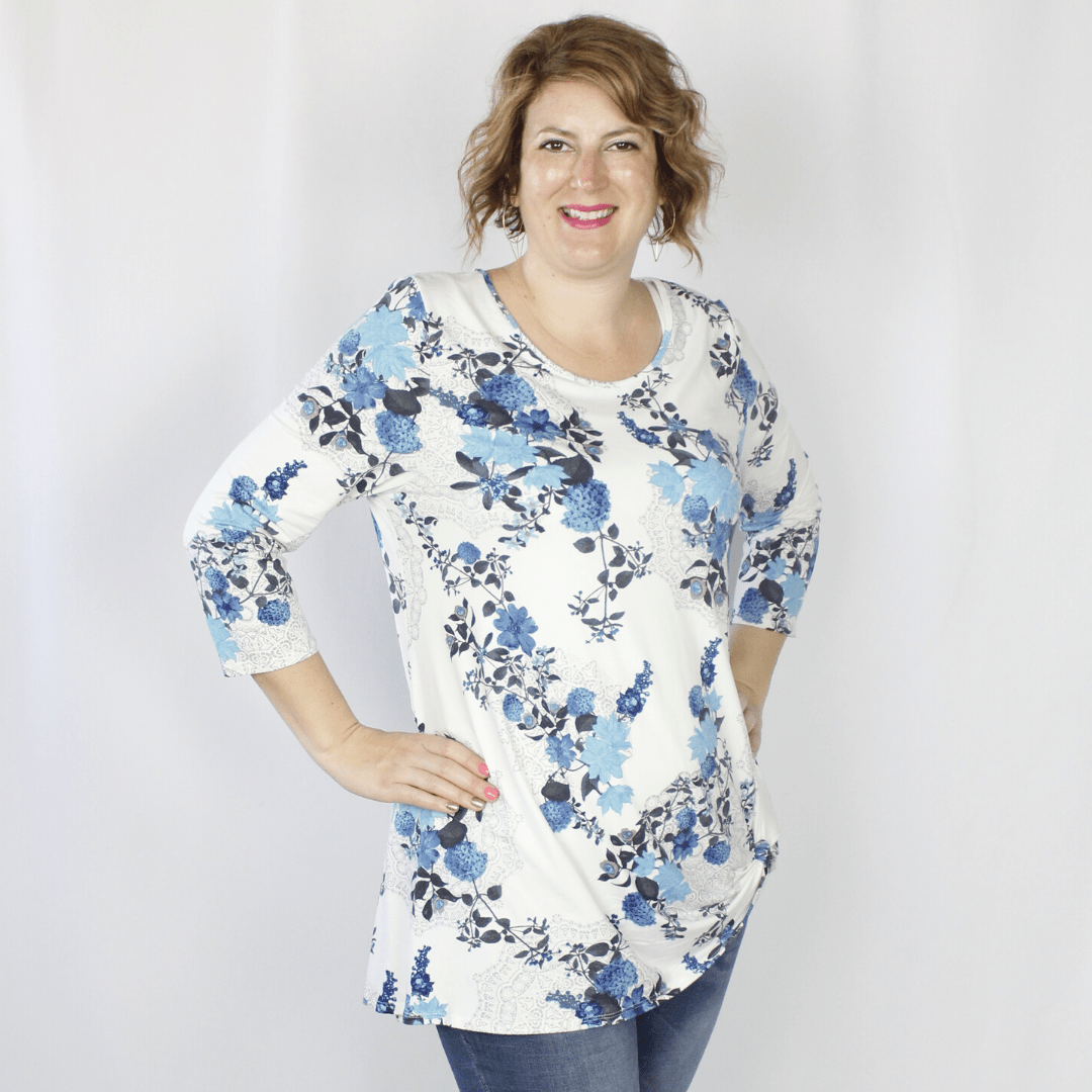 Ivory Denim Brush Knot Top