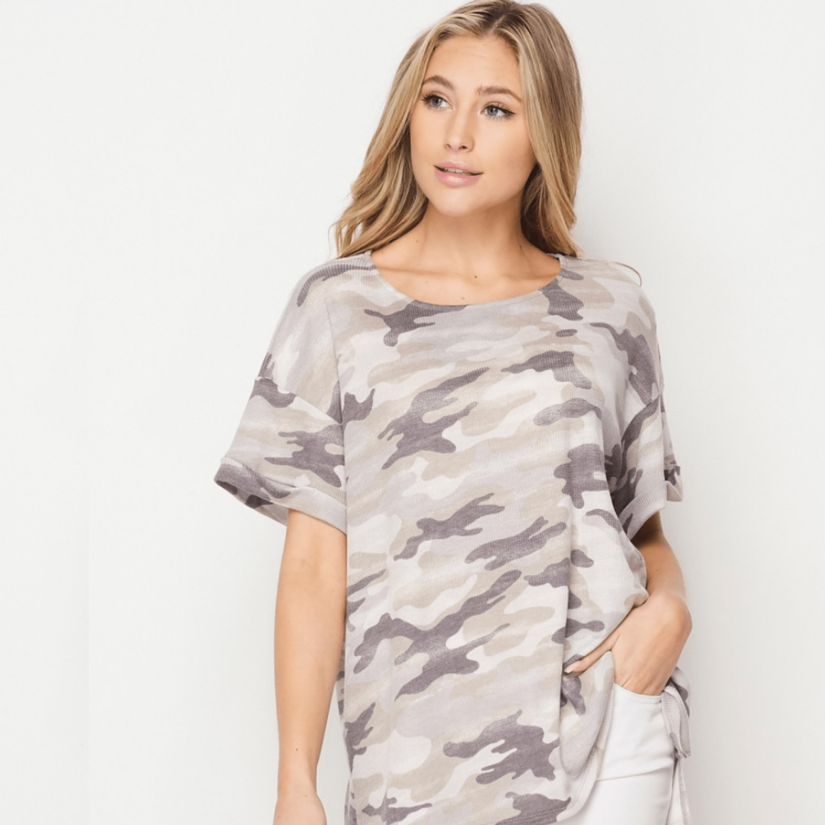 Gray & Taupe Camo Top