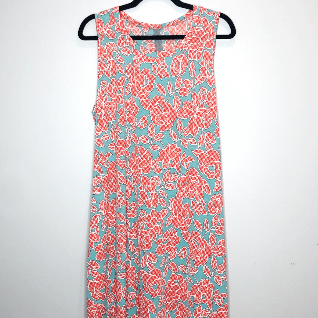 Mint Coral Texture Floral Sleeveless Dress