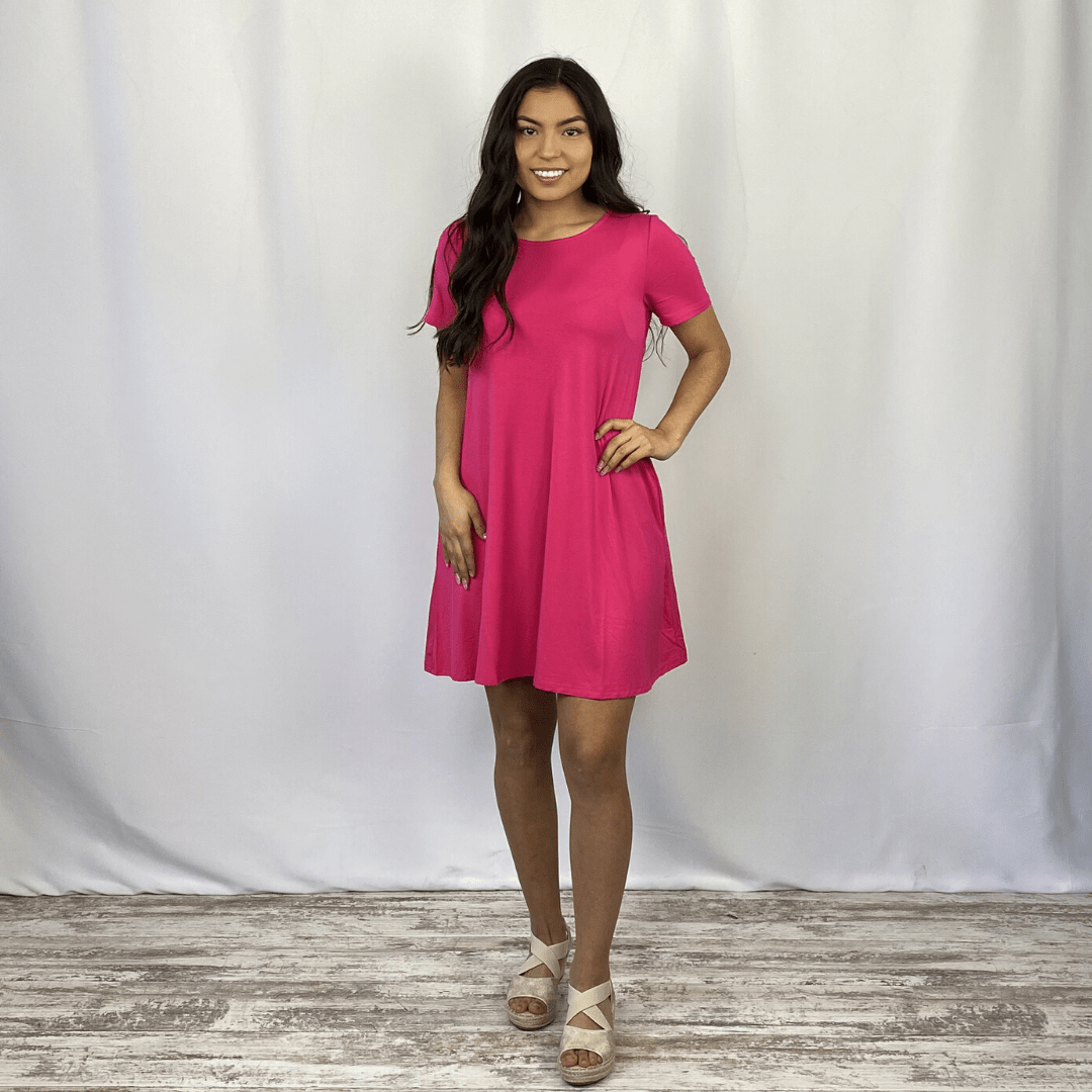 Hot Pink Solid Knit Dress
