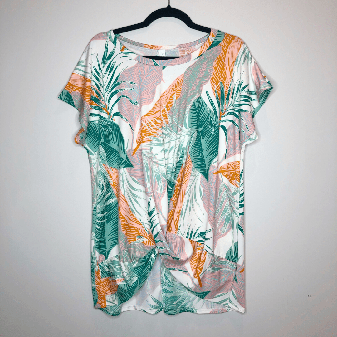 Off White Tropical Knot Top