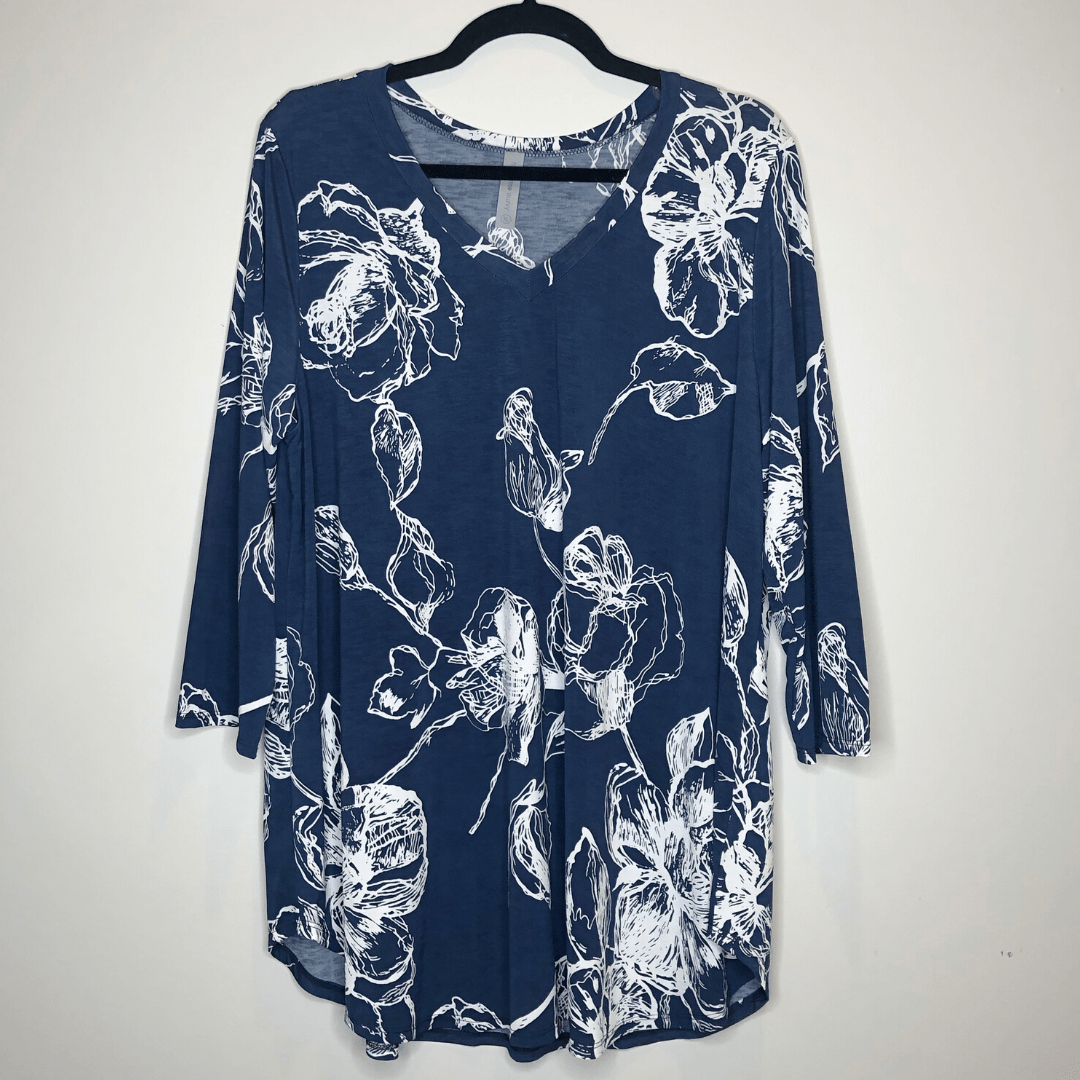 Navy White Floral Top
