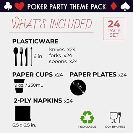 Casino Dinnerware Set, Poker Party Supplies for 24 Guests