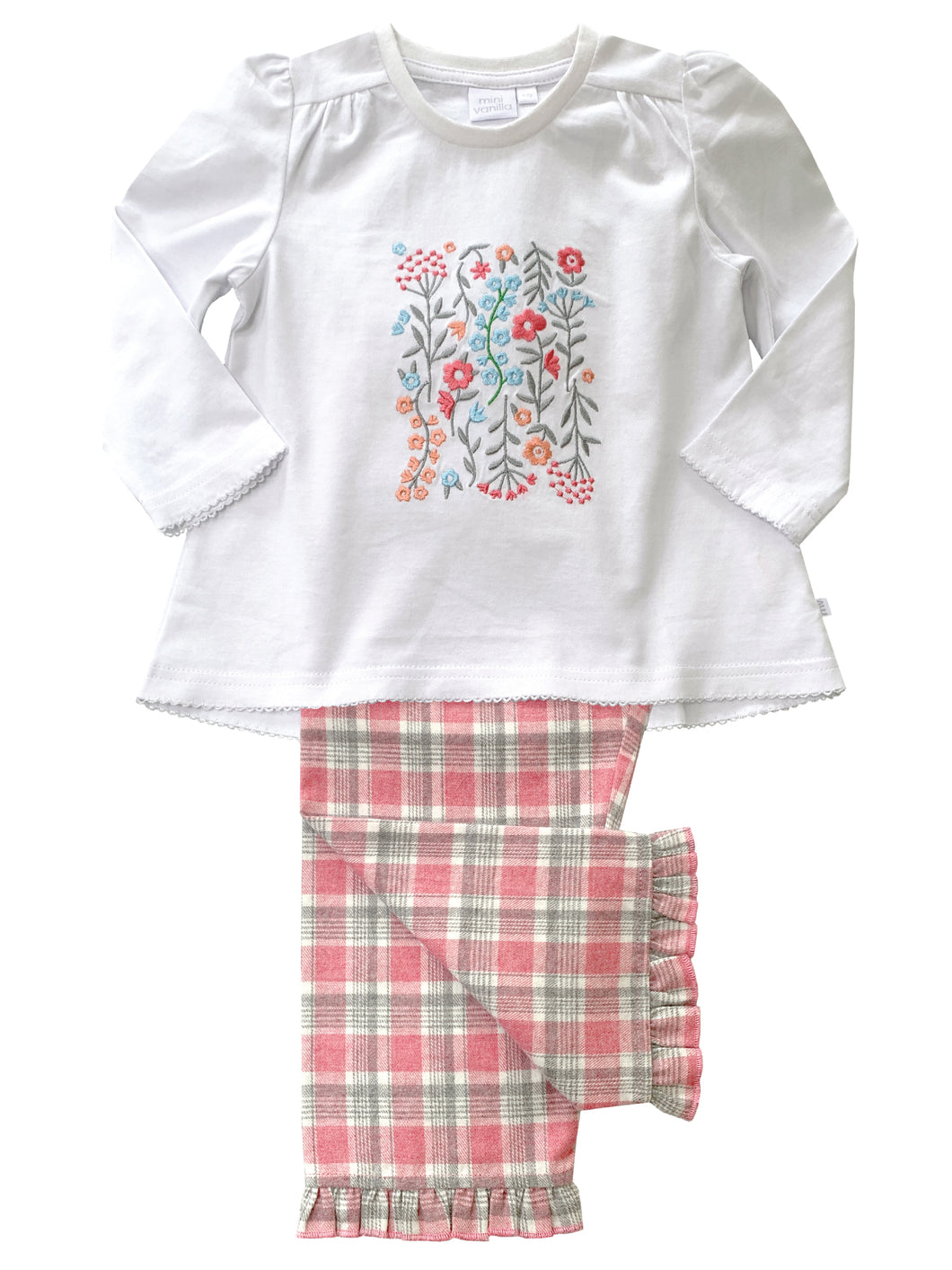 Girls Floral Check Pyjamas