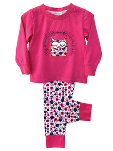 Floral Owl Slim Fit Girls Pyjamas