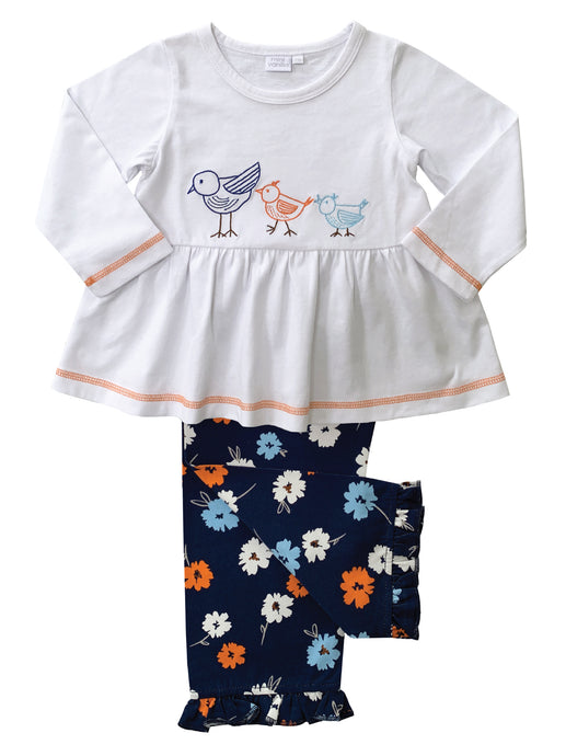 Navy Floral Girls Pyjamas