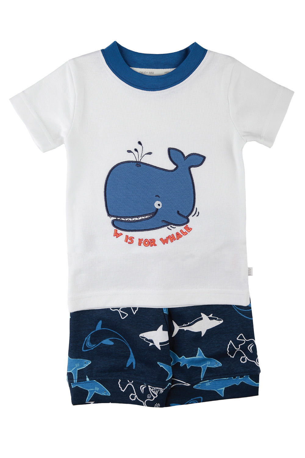 W is for Whale! Boys summer PJs for ages 1-8 years