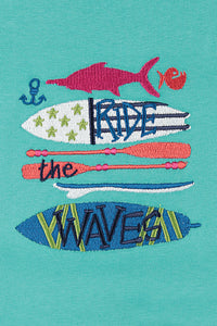 Ride the waves! Boys short summer PJ for ages 1-8 years
