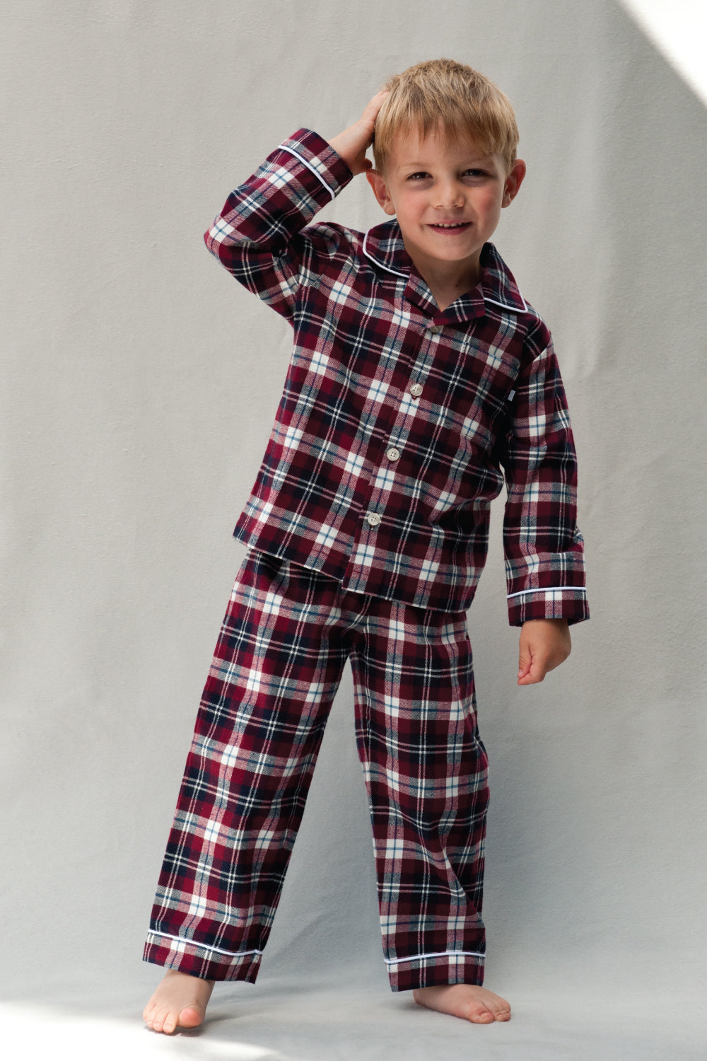 Traditional Pyjamas for Boys in classic check fabric for ages 1-10 years