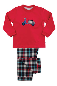 Navy and Red Check Scooter Boys Winter Pyjamas