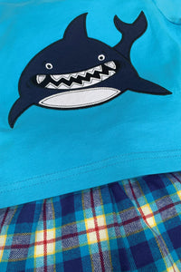 Shark Summer Pyjamas in Blue for ages 1-10 Years - MV 1331