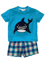 Load image into Gallery viewer, Shark Summer Pyjamas in Blue for ages 1-10 Years - MV 1331