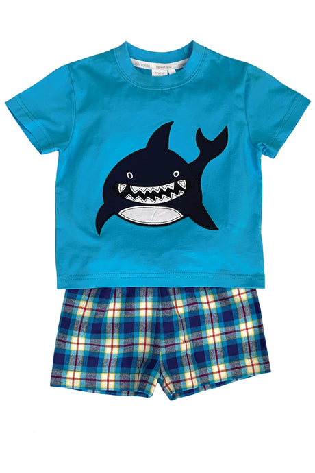 Shark Summer Pyjamas in Blue - Ages 1 to 10 Years