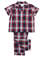 Load image into Gallery viewer, Boys check traditional summer pyjamas