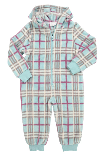 Polar Fleece Onesie in Aqua Check