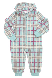Polar Fleece Onesie in Aqua Check - ages 1-10 years