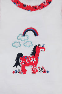 Unicorn short summer Pyjamas for Girls aged 1-10yrs.   MV 2300