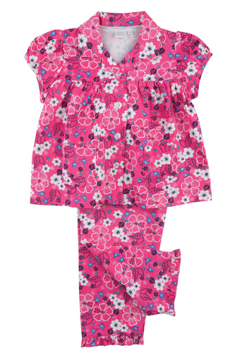 Pretty Pink Floral Jersey Girls Traditional Pyjamas