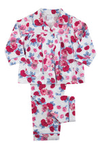 Load image into Gallery viewer, Pretty Pink Rose Print Jersey Girls Traditional Winter Pyjamas