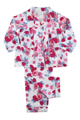 Pretty Pink Rose Print Jersey Girls Traditional Winter Pyjamas