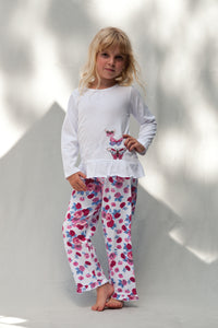 Pretty Pink Rose Print Butterfly Jersey Girls Winter Pyjamas