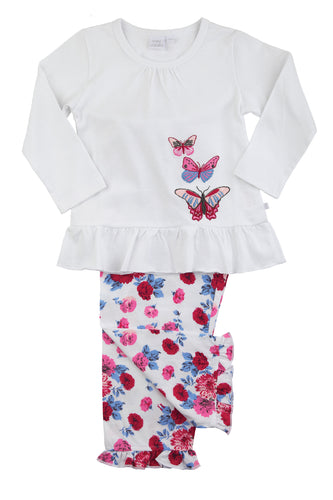 Pretty Rose Print Butterfly Girls Pyjamas 1-10 years - MV 2309
