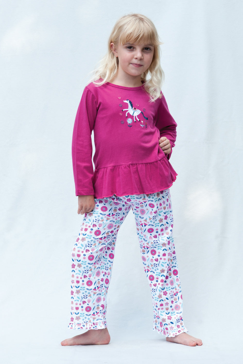 Unicorn Jersey Floral Girls Winter Pyjamas