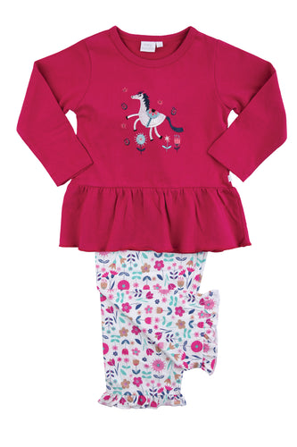 Unicorn Jersey Floral Girls Pyjamas - MV 2312
