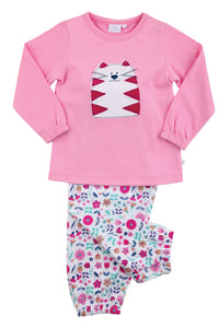 Loveable Cat Jersey Floral Girls Winter Pyjamas