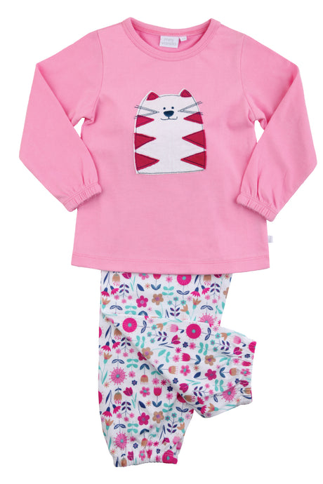 Cat Jersey Floral Girls Pink Pyjamas - MV 2313