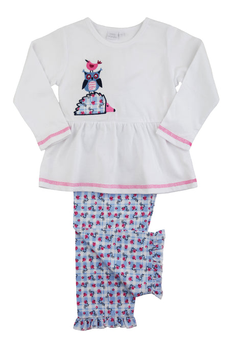 Animal friends Hedgehog, Owl & Bird Girls Pyjamas for ages 1-10 years