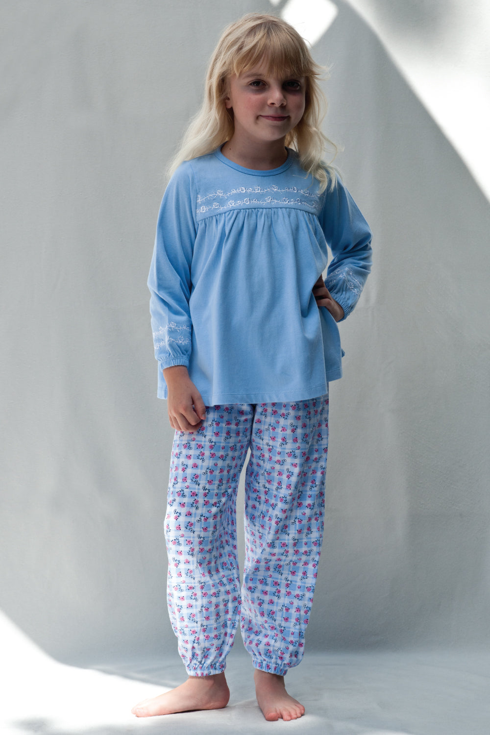 Blue Floral Print Jersey Girls Winter Pyjamas