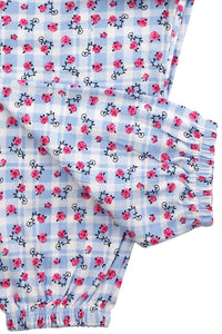 Blue Floral Print Jersey Girls Pyjamas - MV 2316