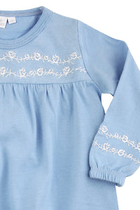 Blue Floral Jersey Girls Pyjamas - MV 2316