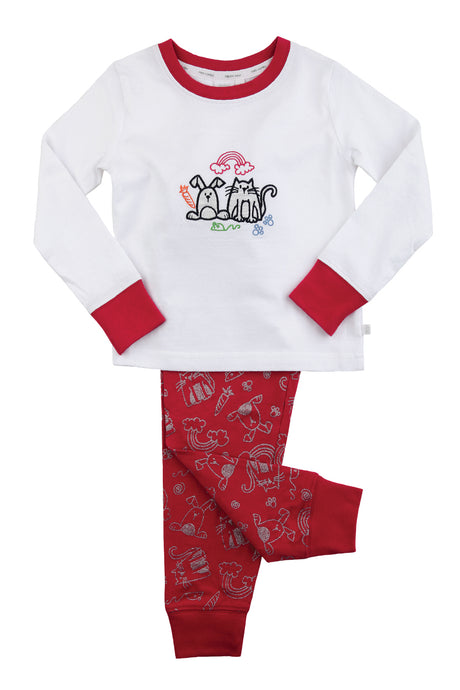 Girls Bunny & Cat Slim Fit Pyjamas - ages 1 to 10 years