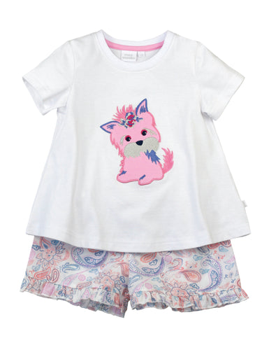 Girl Summer Puppy Cotton Pyjamas