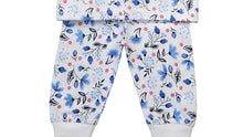 Load image into Gallery viewer, Baby Blue Floral Print Pyjamas with Integrated Scratch Mitts