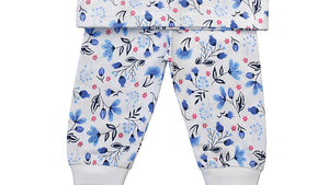 Baby Blue Floral Print Pyjamas with Integrated Scratch Mitts