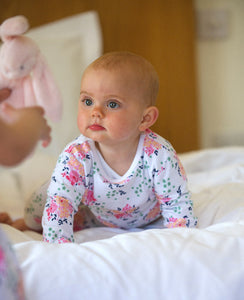 Baby Pink Floral Print Pyjamas with Integrated Scratch Mitts